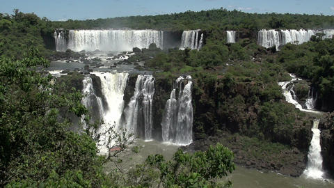 040 Iguazu waterfalls , viewed from Brazil , slowm Footage