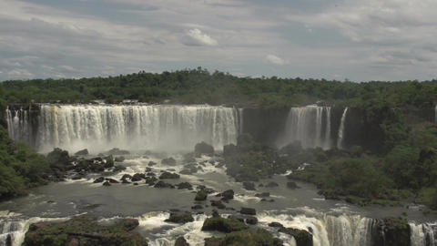 050 Iguazu waterfalls , viewed from Brazil , pansh Footage