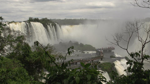 066 Iguazu waterfalls , viewed from Brazil , peopl Stock Video Footage