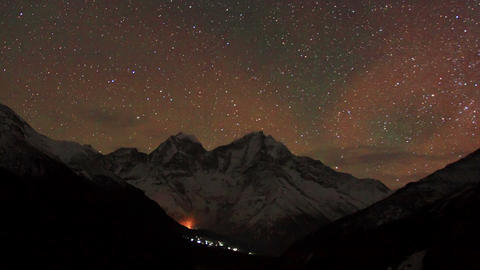 Time lapse of stars behind mountain Kongde Ri Stock Video Footage