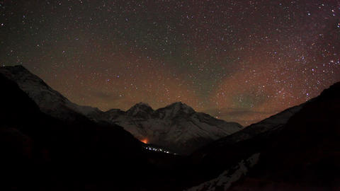 Time lapse of stars behind mountain Kongde Ri Stock Video Footage