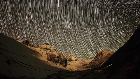 Time lapse of stars behind mountains Kyajo, Pharil Footage