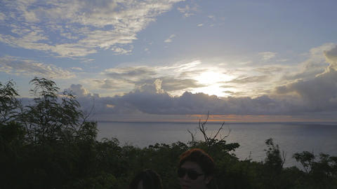 pan - at sunset at guanshan Stock Video Footage