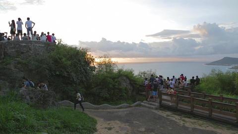 wide angle - people enjoying sunset at guanshan Footage