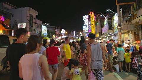 Pingtung Night Market - family shopping at night m Stock Video Footage