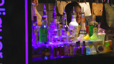 Pingtung Night Market - Alcohol stand Stock Video Footage
