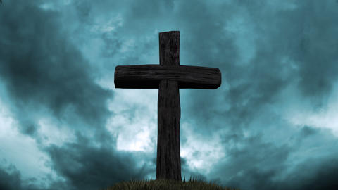 Wooden Cross On Top Of The Hill stock footage