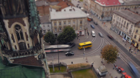 View of the intersection in the city of Lviv (time Stock Video Footage