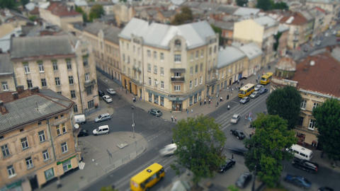 View of the intersection in the city of Lviv (time Footage