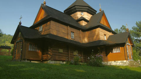 Ukrainian national church. Carpathians village Kri Footage