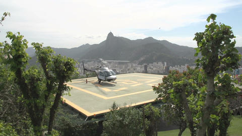 006 Rio , Helicopter on platform , Sugarloaf Mount Stock Video Footage