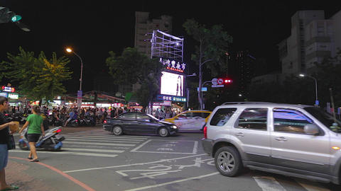 Ruifeng night market - sign across the street Stock Video Footage