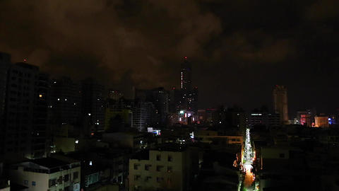 Kaohsiung 85 Building at night from balcony - wide Footage
