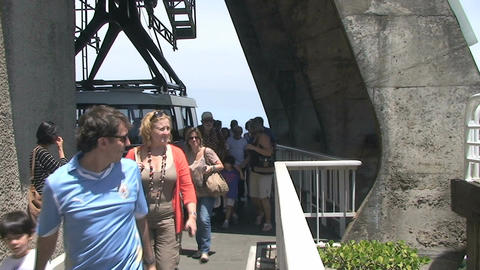 027 Rio , tourists leaving cable car , Christ the  Footage