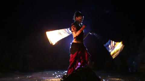 Artist turns the fire snakes performance Footage