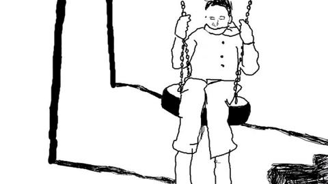 Animated child on a swing Stock Video Footage