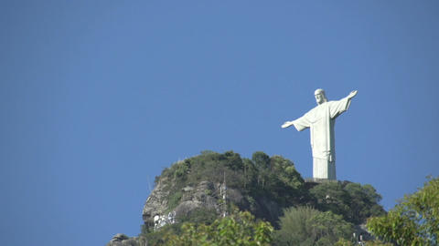 052 Rio , Christ the Redeemer on blue sky Stock Video Footage