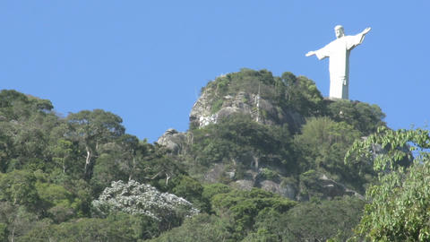 055 Rio , Christ the Redeemer on blue sky Stock Video Footage