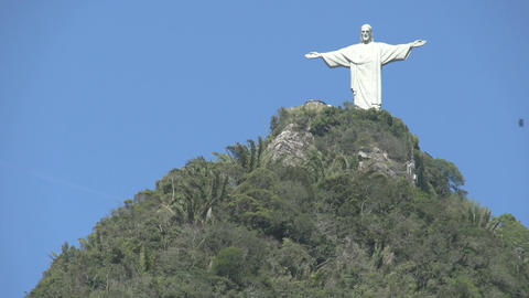 062 Rio , Christ the Redeemer on blue sky Stock Video Footage