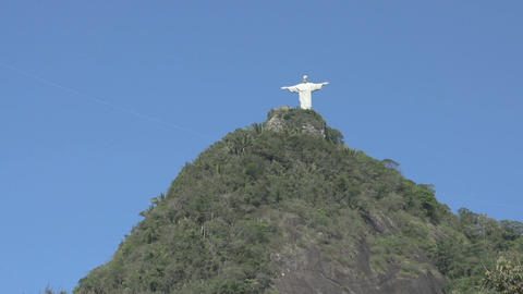 066 Rio , Christ the Redeemer on blue sky Stock Video Footage