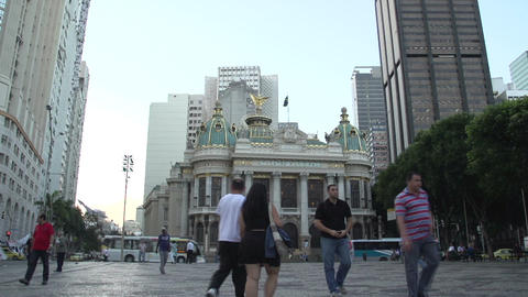 071 Rio , street life , colonial building Stock Video Footage