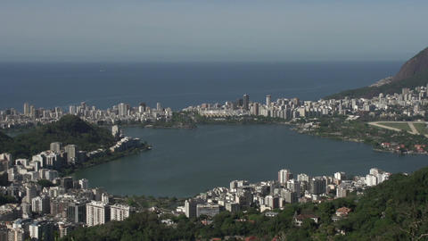 082 Rio , Coastline , Rodrigo de Freitas lake Stock Video Footage
