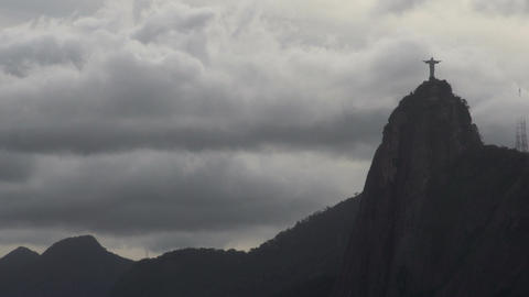 0101 Rio , Christ the Redeemer on cloudy sky Footage
