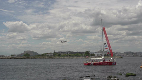 0105 Rio , 2 Clipper boats leaves harber , airopla Stock Video Footage