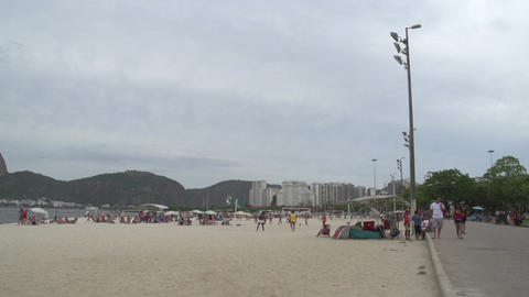 0115 Rio , Botafogo Beach , Football stock footage