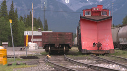 HD2008-6-6-71 parked railway snowplow Stock Video Footage
