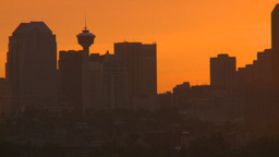 HD2008-6-8-1 sunset Calgary skyline Stock Video Footage