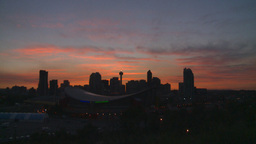 HD2008-6-8-7 sunset Calgary skyline tower flame Z in Stock Video Footage