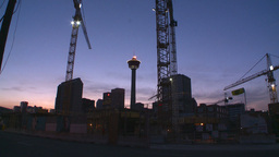 HD2008-6-8-11 dusk Calgary const site tower flame Stock Video Footage