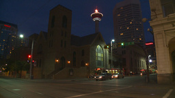HD2008-6-8-17 dusk Calgary DT street Stock Video Footage