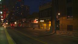 HD2008-6-8-19 dusk Calgary DT LRT at stn Stock Video Footage