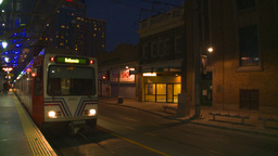 HD2008-6-8-19 dusk Calgary DT LRT at stn Stock Video Footage