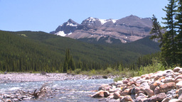HD2008-6-9-20 mountain stream and snowy Mtn Stock Video Footage