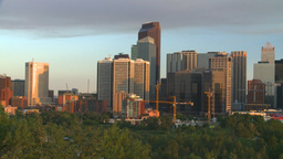 HD2008-6-9-46 Calgary eveningskyline pan Footage