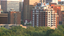 HD2008-6-9-50 Calgary evening skyline condo Footage