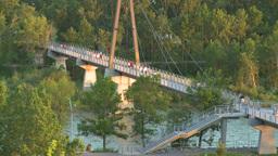 HD2008-6-9-52 Calgary evening footbridge Stock Video Footage