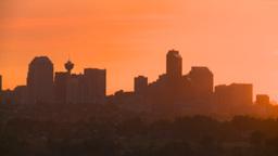 HD2008-6-9-56 Calgary evening skyline sunset Stock Video Footage