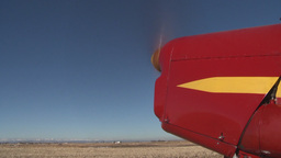 HD2008-3-1-1 Red biplane idle Stock Video Footage