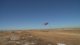 HD2008-3-1-3 Red biplane takeoff Stock Video Footage