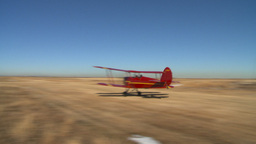 HD2008-3-1-5 Red biplane flyby toch n go Stock Video Footage