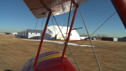 HD2008-3-1-7 Red biplane taxi Stock Video Footage