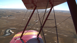 HD2008-3-1-9 Red biplane aerial wing left Footage