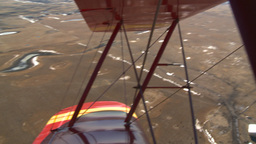 HD2008-3-1-9 Red biplane aerial wing left Stock Video Footage