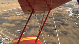 HD2008-3-1-11 Red biplane aerial wing left Stock Video Footage