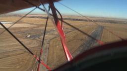 HD2008-3-1-15 Red biplane aerial wing left BCATP airbase Footage