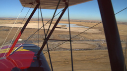 HD2008-3-1-15 Red biplane aerial wing left BCATP airbase Stock Video Footage